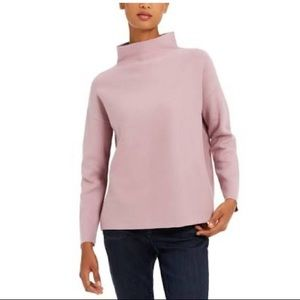 EILEEN FISHER Organic Cotton Funnel-Neck Top.Small